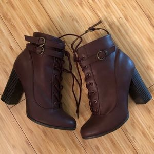 Just Fab Lace Up Burgundy lace up booties